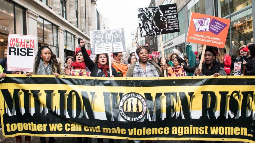 Protestors on the Million Women Rise March, 2019